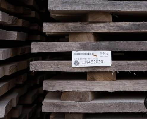American Oak is stored outside for 7 months to break down Tannins