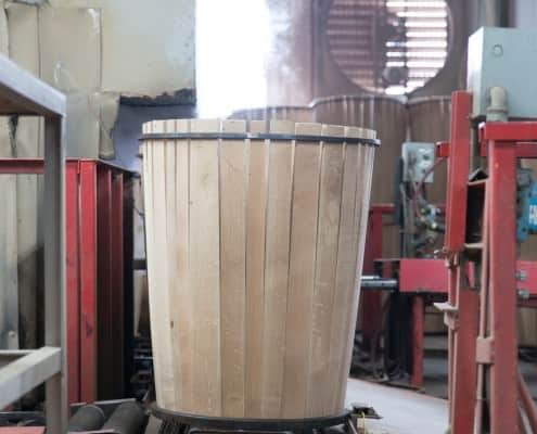 Before the barrels are charred, they are steamed - it's a constant back and forth