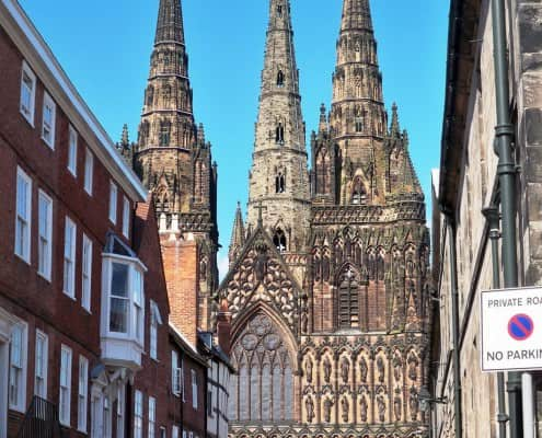 West end of Lichfield Cathedral, Lichfield, England