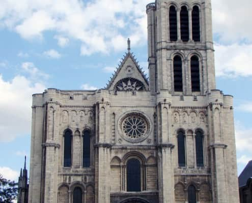 West front with 19th century replacement rose window at Saint-Denis, Paris