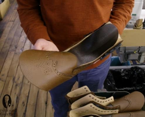 An Islay boot awaiting lasting. The boot will eventually be stained to match the tongue