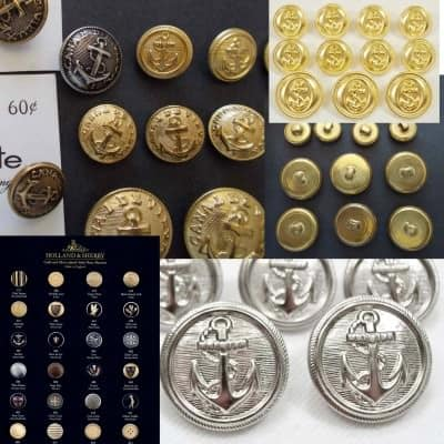 Blazer buttons in gold, silver, gilt or enamel with crests, anchor & heraldry