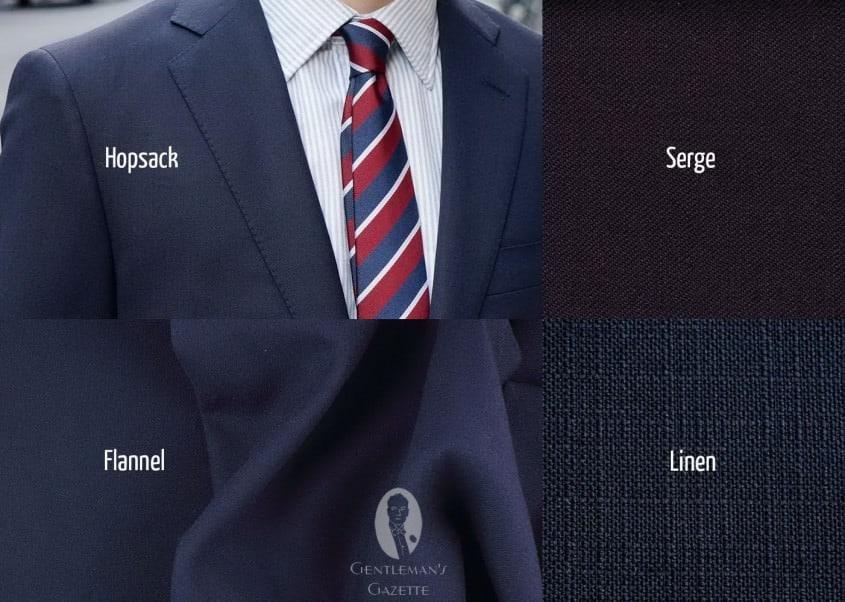 Blazer fabrics - Serge, hopsack, wool flannel, linen, worsteds...