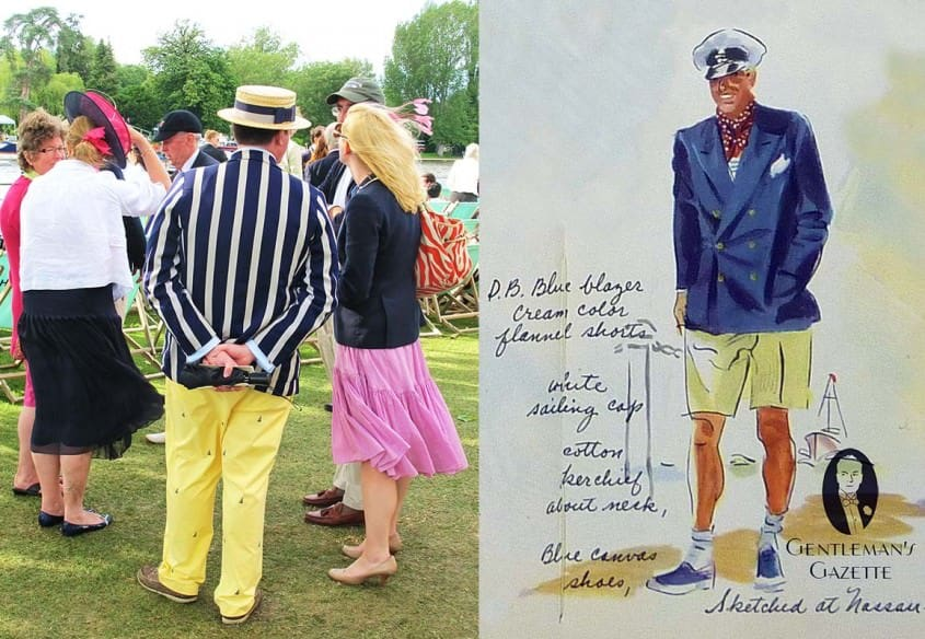 Blue and white striped blazer with yellow sailing pants at Henley Royal Regatta & 6x2 blazer with shorts from the 1930's