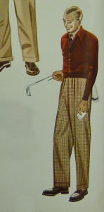 Burgundy Cardigan for Golf in 1938