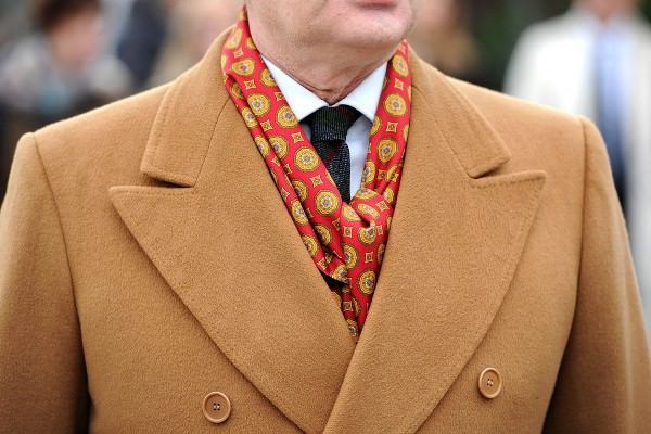 Camel overcoat with printed silk scarf