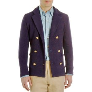 Cardigan by Camoshita that looks like a navy blazer