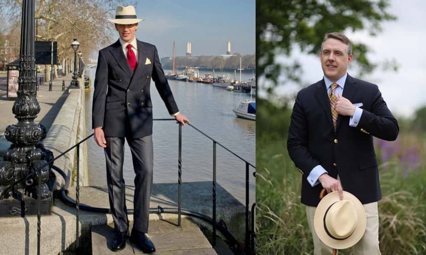 DB navy blazer with red tie, grey flannel trousers and Panama Hat & SB blazer with madras tie, chinos & Panama hat