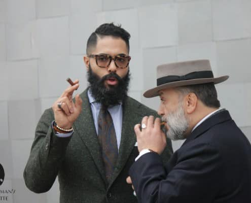 Flecked Donegal tweed and tobaccao were popular at Pitti this year