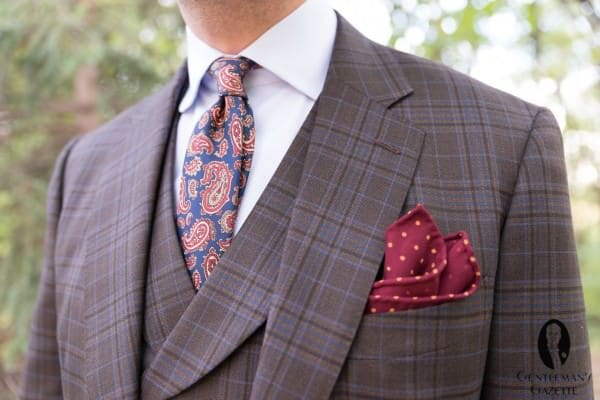Fort Belvedere Paisley Real Ancient Madder tie & burguny wool challis pocket square with yellow polka dots