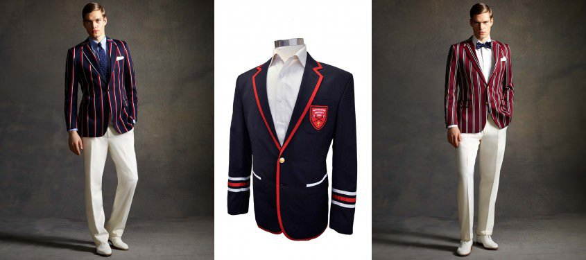 Modern College & Boating blazers in navy, red, white and green with piping and optional crest