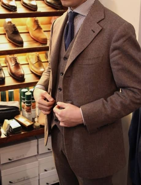 Mottled mid brown three piece suit