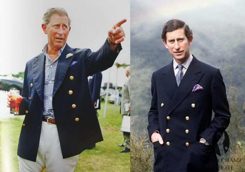 Prince Charles in the same navy 8x3 double breasted blazer - classic garments never go out of style