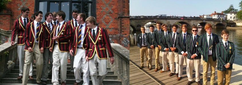 Rowing 1st Vlll Close up of the black & red striped blazers with gold piping & The King's School, Chester - Boys' 1st VIII impress