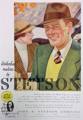 Stetson hats in fall colors - note the button down collar with a repp tie and sweater vest