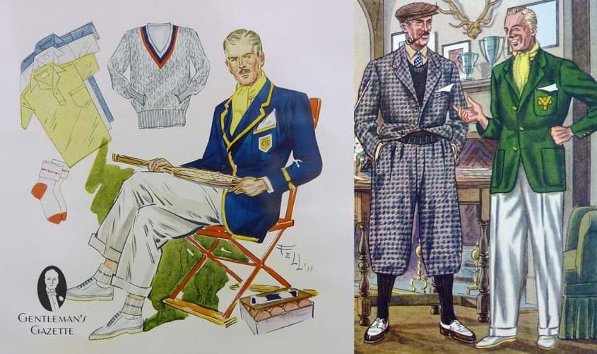 Tennis blazer and club blazer in green tweed with crest & white flannel trousers & white buckskin shoes from the 1930's