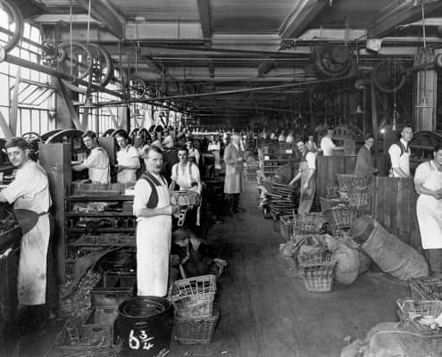 The 'rough stuff' [soling] department in the 1920s. The Crockett & Jones factory is fundamentally little changed since then