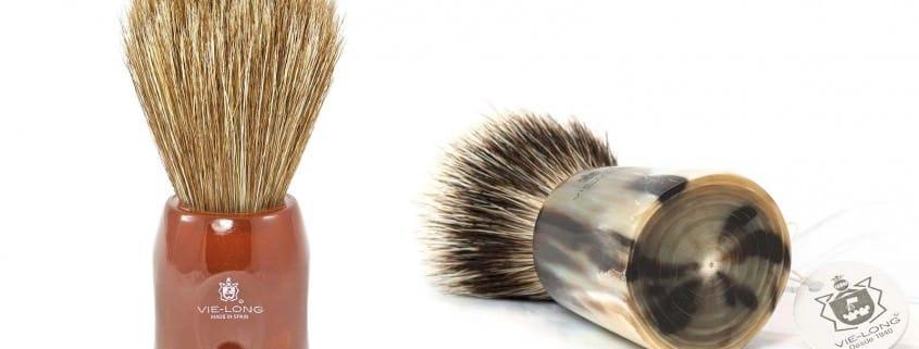 Vie Long Peleon Horse Hair Shaving Brush & badger brush with horn handle