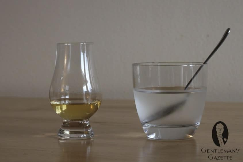 Whisky Glass, Teaspoon and chilled water