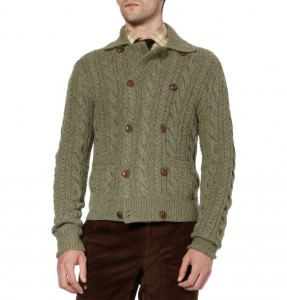 Ralph Lauren Purple Label double breasted cardigan in melange green