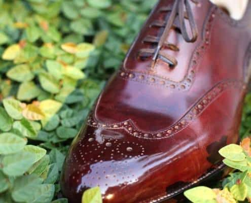 Beautiful captoe water polished St. Crispin Full Brogue in Cherry Red