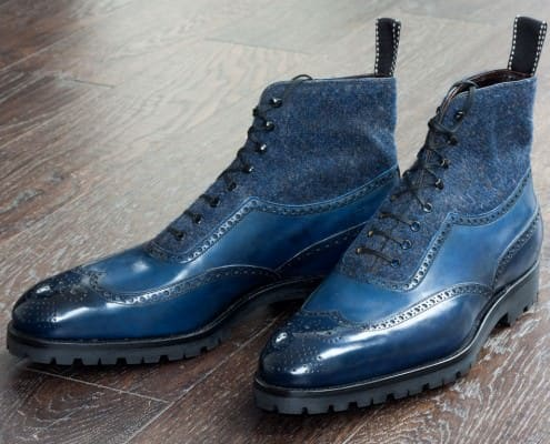 Blue Full Brogue shoes with tweed & rubber soles by St. Crispin
