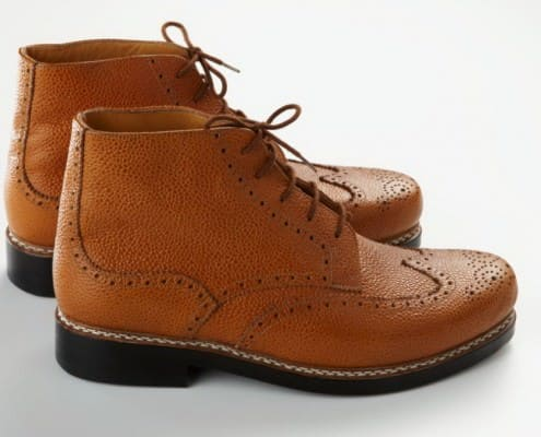 Budapester boots in brown Scotch Grain leather by Maftei