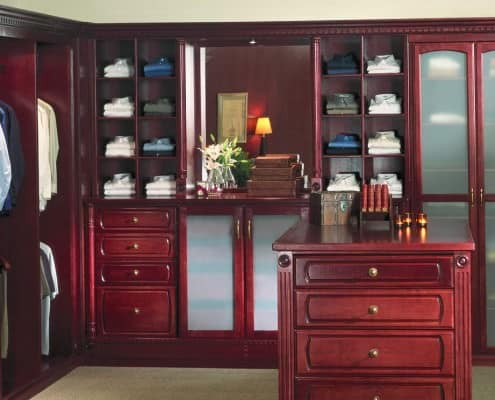 Classic men's closet with halogen lamps