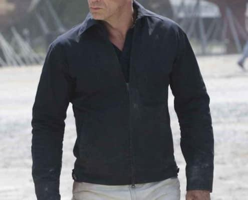 Daniel Craig wearing a variation of the Harrington Jacket without elastics