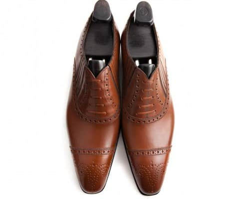Gaziano & Girling Deco brown half brogue with side gussets