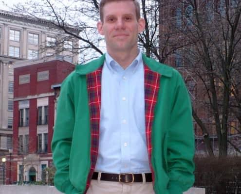 Green Harrington jacket with OCBD by oxfordclothbuttondown