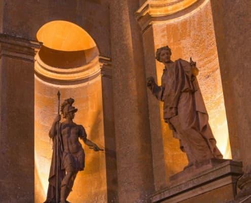 Light Statues at Blenheim Palace at night