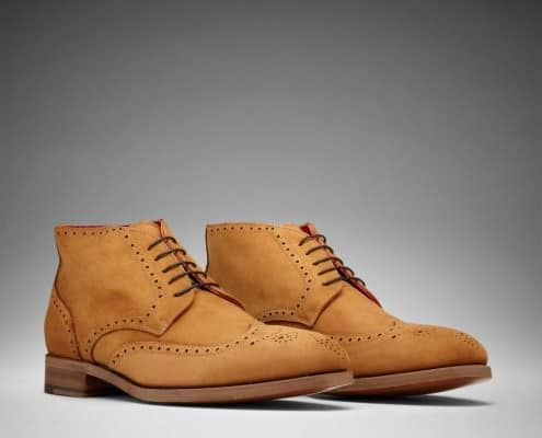Scarosso full brogue ankle boot Alanzo in tan suede