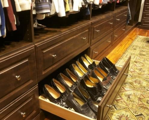 Shoe drawers in the bottom but make sure to use shoe trees