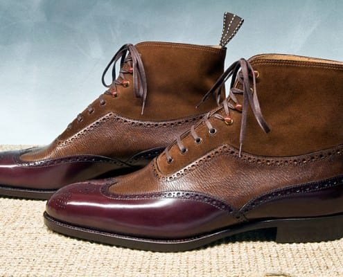 St. Crispin Three tone full brogue boots with different textures - boxcalf embossed and suede