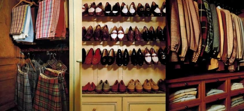 The Duke of Windsor's Closet - Slacks & Kilts, Shoes on Racks, Jackets on hangers & shirts folded