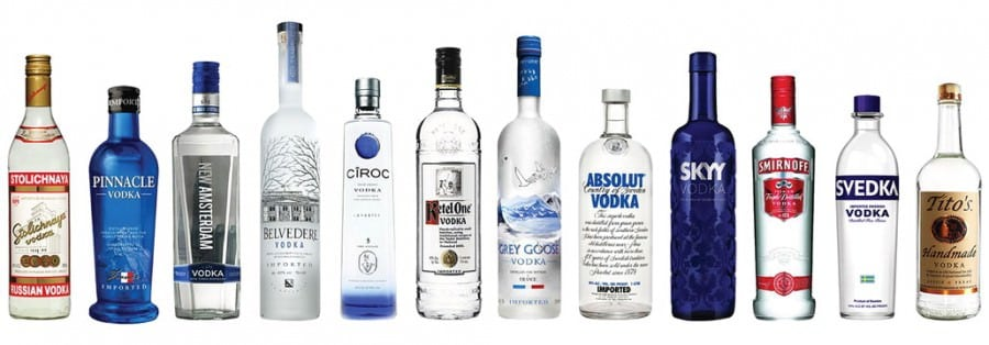 Assorted Vodka Bottles lined up next to each other