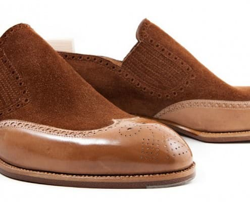 Unusual two tone slip on loafers with side gussets and broguing by St. Crispin