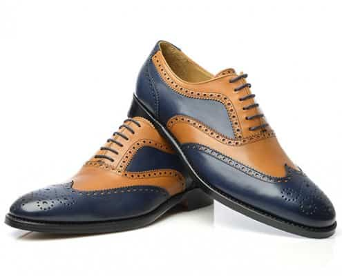 two tone full brogue oxford in blue & tan boxcalf leather Model no 382 by Shoepassion