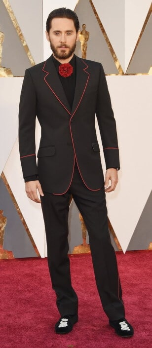 Jared Leto with red piping, rose instead of boutonniere and snake embroidered slippers