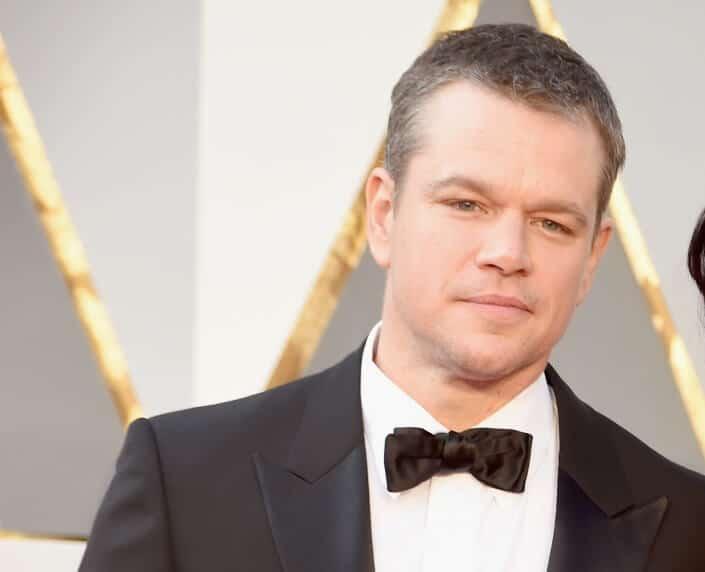 Matt Damon with shirt collar that is a bit too wide