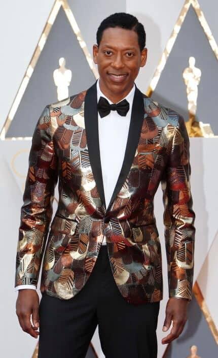 Orlando James in bold silk dinner jacket