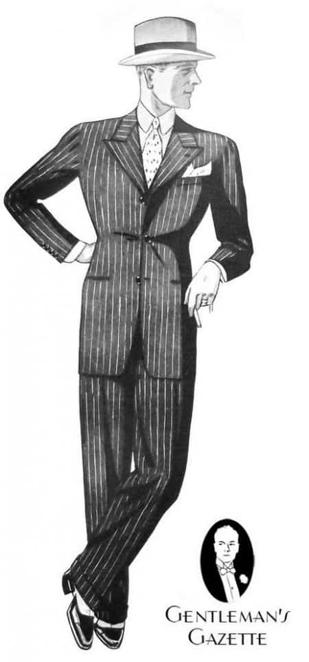 Chalk stripe suit - silhouette from 1933 with natural shoulders & short lapels and full cut
