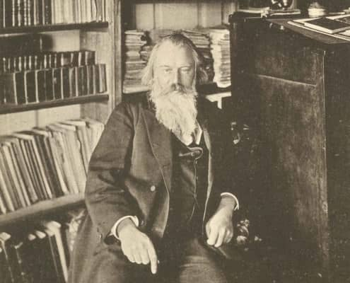 Johannes Brahms in his study