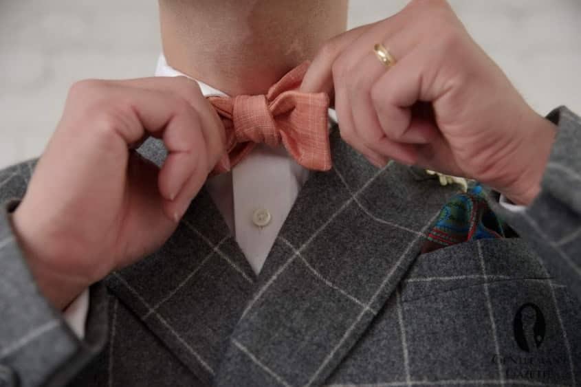 Linen Bow Tie in Orange by Fort Belvedere