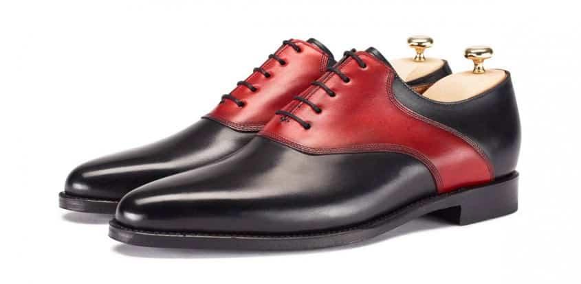 Modern Saddle Shoe interpretation Moder Stefano in black & red box calf by jfitzpatrick