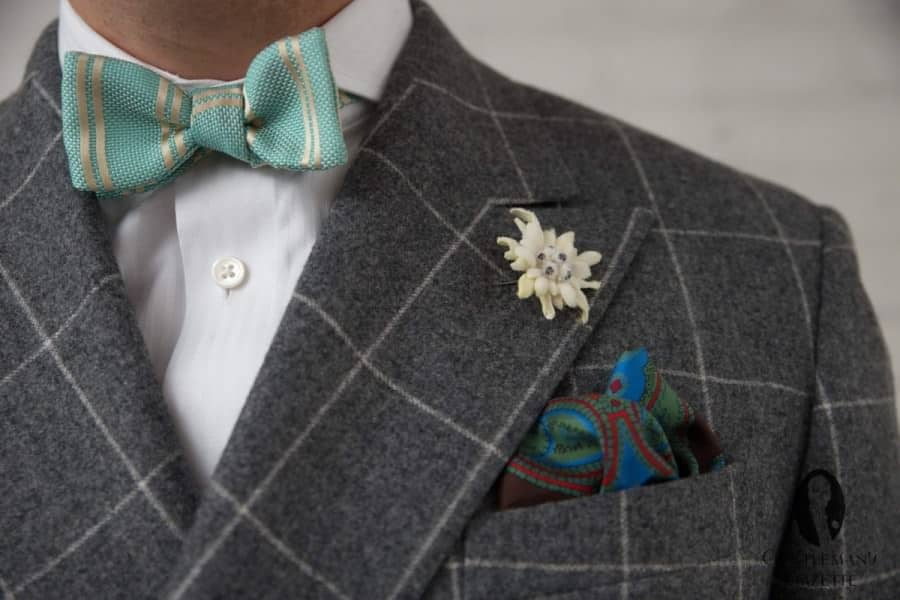 Gray Windowpane Flannel Suit Bow Tie, Edelweiss and Pocket Square all Fort Belvedere
