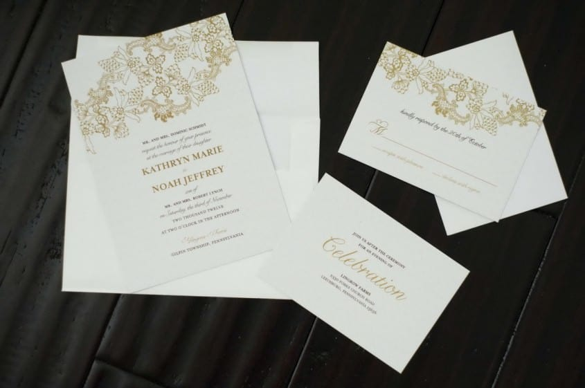 A wedding invitation with an invitation to the reception and a response card