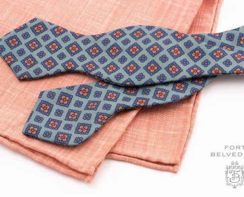 Bow Tie in Green Madder Silk with Pointed End & Orange Linen Pocket Square Handmade by Fort Belvedere