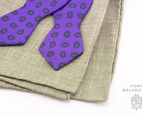 Purple Madder Silk Bow tie with green linen pocket square - Handmade by Fort Belvedere (16 of 16)
